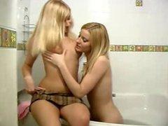 teen lesbians bath then toying