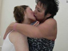 Hot lesbian girl fucks her bf grandmother
