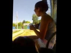 Handjob for brazilian girl of shorts at bus stop
