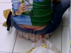 Panties of brunette brazilian in supermarket