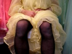 Masturbating in yellow negligee