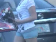 Candid ass in short tight shorts 3