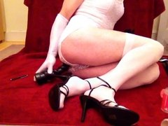 Toy play in white club dress and stockings