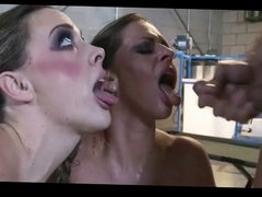 2 hot chicks getting fucked and facialized