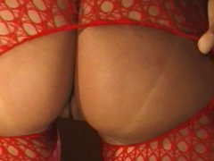 Slutty Ice La Fox sits on her mans face in red bodystocking
