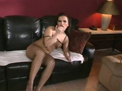 Katja in fishnet bodystocking gets bent over and fucked