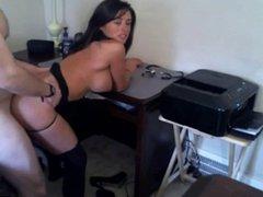 Sexy Busty Brunette Sucks & Fucks On Cam