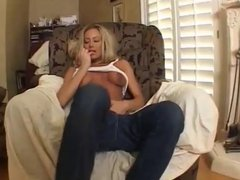 Blonde With Huge Tits Enjoys Playing With Her Titties
