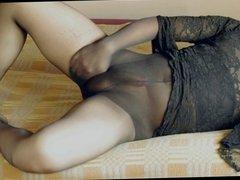 Black pantyhose and black dress
