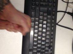 Cum on boss's keyboard