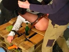 Blindfolded Amateur, fucked, fisted and Beerbottled