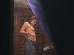 redhead window peep post shower