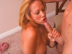 Horny Blond Smears Cream on Tits