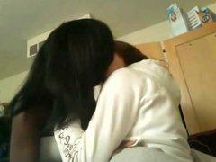 Amateur lesbian couple kiss in cam