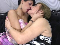 Granny fucked by young lesbian neighbour girl
