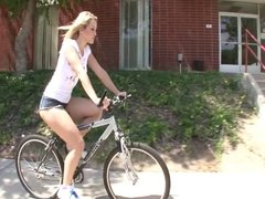 GIRL WITH BIKE IS HOUSE CLEANING