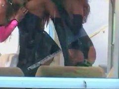 Lesbian latex dykes spying