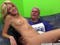 Cute blonde stretches her long legs for Porno Dan!