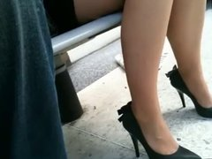 sexy legs at bus stop