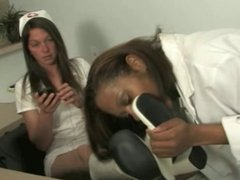 Black Girl Licking Mistress Claire's Boots and Bare Feet