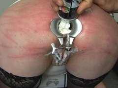Whipped cream enema and anal dildo fuck