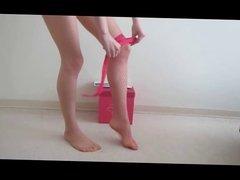 Putting on pantyhose