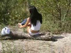 hot russian babe striping outdoor