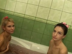 Double Creampie for 2 skinny euro Teens ctoan