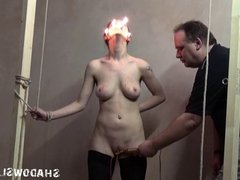 Female masochist Emily tortured and tied for facial burning