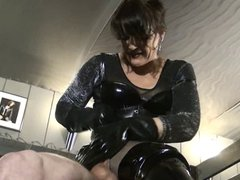 Furious gloved handjob, heavy teasing