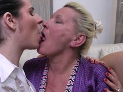 Granny banged by mature slut and not her daughter