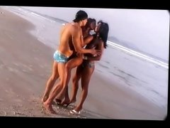 Erotic Threesome in the Beach