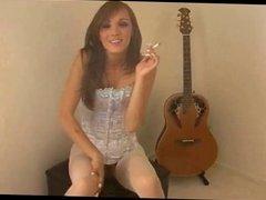 Horny Girl In Corset Smoking