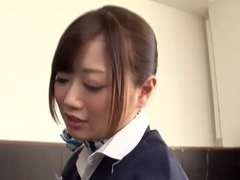 Japanese Flight Attendant Strap On Group Action