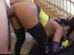 Brunette with leather boots has anal sex
