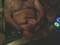 Hairy Man stroking cock