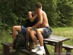 Dreamboat boy got seduced by his gay picnic buddy