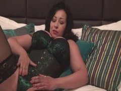 British slut Danica plays with herself in a green basque