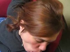 naughty GF blowjob and facial in office waiting room