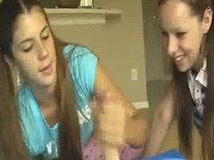 awesome two girl teen handjob