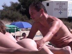 French nudist beach Cap d'Agde pussies fingering + blowjob