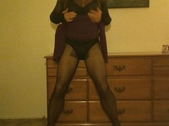 cross dresser stripping down to pantyhose