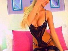 Busty blonde strip & anal on cam