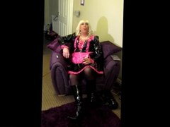 Chrissie smoking a 120 in a sexy pvc maids dress