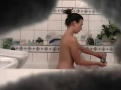 girlfriend spied having shower in the bathtub - spycam