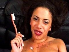 Busty Brit Brushes Teeth With Cum