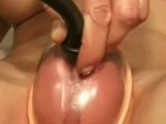 Girl use pussy pump to masturbate