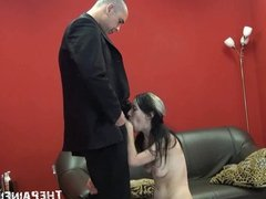 Enslaved blowjob of hardcore facially humiliated submissive