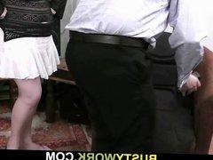 Service man screws hot blonde plumper