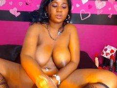 Webcam - Busty black girl toying pussy